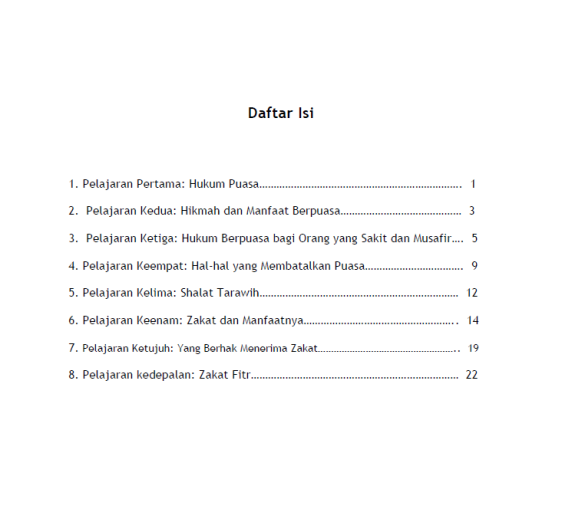 dAFTAR_iSI_Pelajaran_tentang_Puasa_Tarawih_Zakat