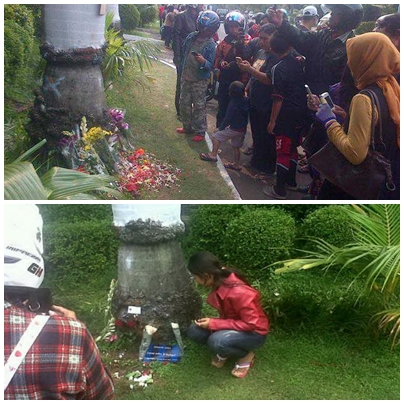 Pohon palem yang sempat ditabrak Ustadz Jeffry Al Buchori di kawasan Pondok Indah Jakarta Selatan.